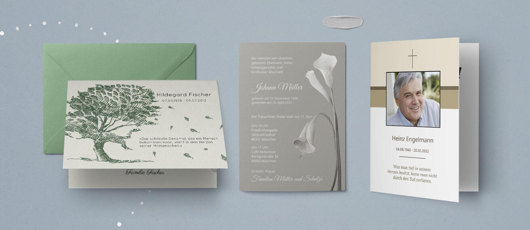 Einladungskarten Trauerfeier