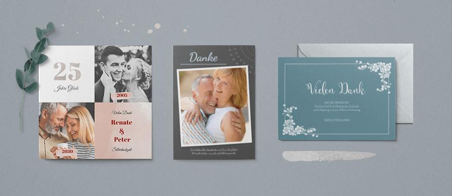 Dankeskarten Silberne Hochzeit